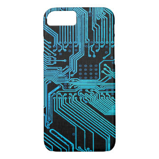 Vintage Blue Ghost Grunge Circuit Board iPhone 7 Case