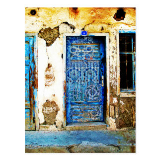 Vintage Blue Greek Door Rustic Style Postcard