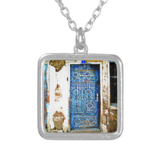 Vintage Blue Greek Door Rustic Style Silver Plated Necklace