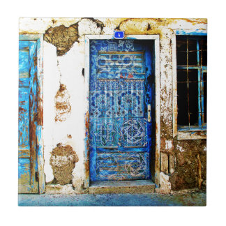 Vintage Blue Greek Door Rustic Style Small Square Tile