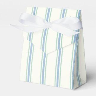Vintage Blue Green & White Stripe Wedding Party Favour Box