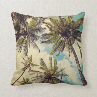 Vintage Blue Hawaii Palms - Kauai Throw Pillow