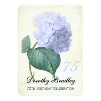 Vintage Blue Hydrangea 75th Birthday Celebration 2 Card