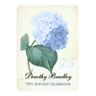 Vintage Blue Hydrangea 75th Birthday Celebration I Card