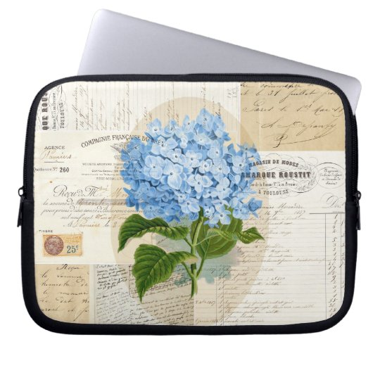 Vintage Blue Hydrangea French Ephemera Laptop Bag