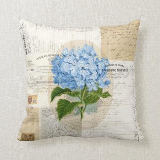Vintage Blue Hydrangea French Ephemera Pillow Throw Cushion