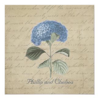 Vintage Blue Hydrangea Wedding Card