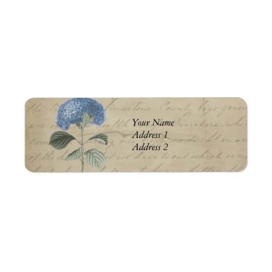 Vintage Blue Hydrangea with Antique Calligraphy Return Address Label