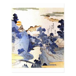 Vintage Blue Japanese Art Postcard