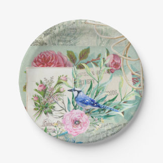 Vintage Blue Jay Bird Pink Rose Floral Collage Paper Plate