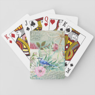 Vintage Blue Jay Bird Pink Rose Floral Collage Playing Cards