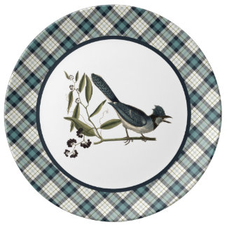 Vintage Blue Jay with Rustic Plaid Plate