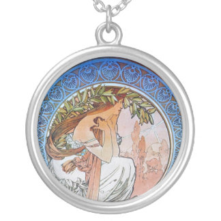 Vintage Blue Moon Goddess Round Pendant Necklace