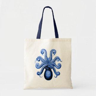 Vintage Blue Octopus 1 Underside Budget Tote Bag