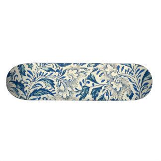 Vintage Blue Oriental Decor FloralPattern Skate Deck