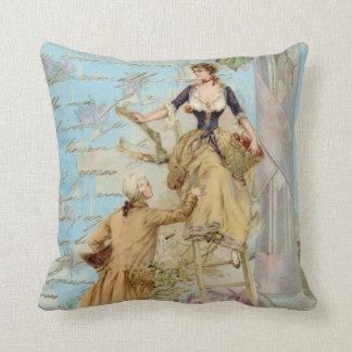 Vintage Blue Paris couple decoupage style Cushion