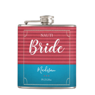 Vintage blue red nautical background bride flask