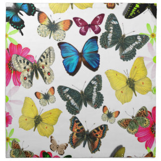 Vintage Blue Red Yellow Colorful Butterflies Napkin