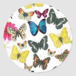 Vintage Blue Red Yellow Colourful Butterflies Round Stickers