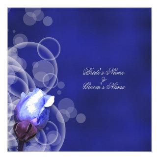 vintage blue rose antique fantasy wedding invite