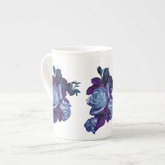 Vintage blue rose bouquet porcelain mugs