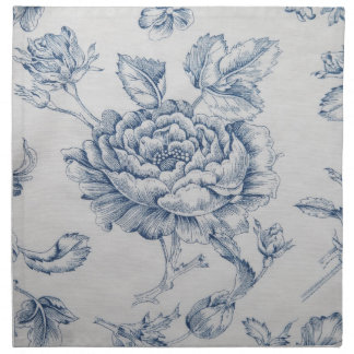 vintage blue rose dinner napkin