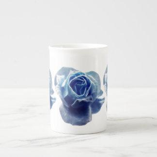 Vintage blue rose bone china mugs