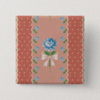 Vintage Blue Roses Coral Dots Wallpaper Pattern 15 Cm Square Badge