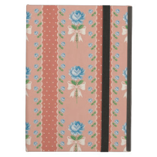 Vintage Blue Roses Coral Dots Wallpaper Pattern iPad Air Case