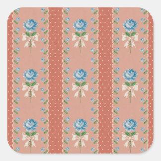 Vintage Blue Roses Coral Dots Wallpaper Pattern Square Sticker