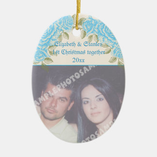 Vintage blue roses Couple's first Christmas photo Ceramic Oval Decoration