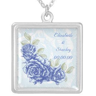 Vintage blue roses custom necklace