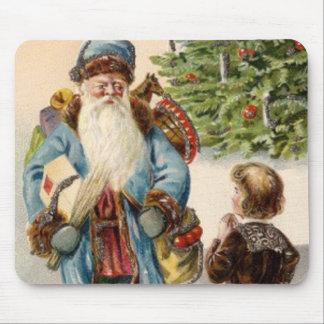 Vintage Blue Santa Mouse Pad