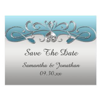 Vintage Blue Silver Ornate Swirls Save The Date Postcard
