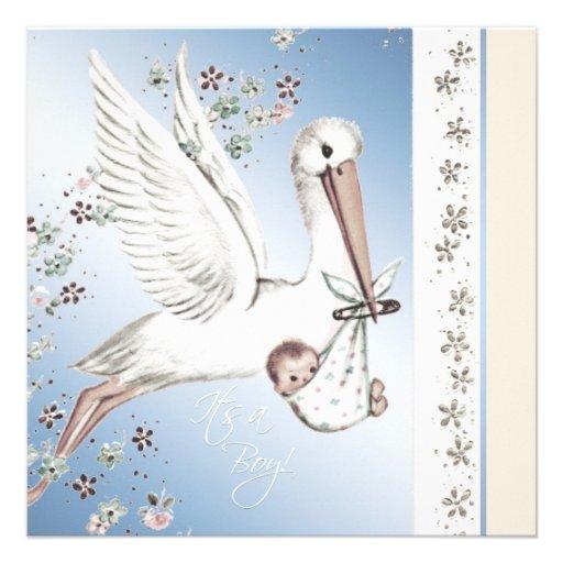 Vintage blue stork baby boy shower invitations zazzle