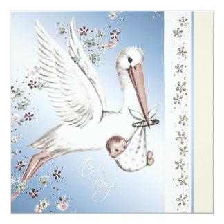 Vintage Blue Stork Baby Boy Shower Invitations