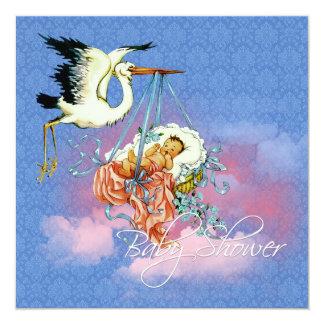 """Vintage Blue Stork Baby Shower 5.25"""" Square Invitation Card"""