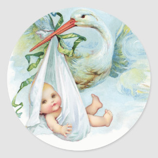 Vintage Blue Stork Baby Shower Stickers