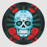 Vintage Blue Sugar Skull with Roses Poster Classic Round Sticker