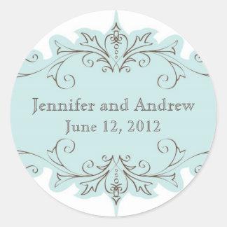 Vintage Blue Swirls Wedding Favour Stickers