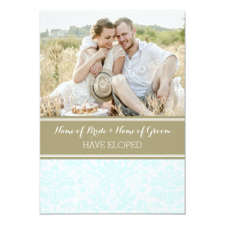 Vintage Blue Tan Damask Photo Elopement Cards
