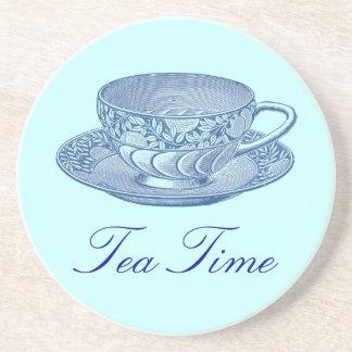 Vintage Blue Tea Cup Drink Coasters
