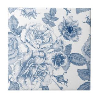 Vintage blue white floral pattern home decor tile