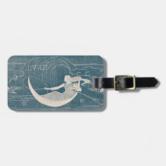 Vintage Blue White Moon Woman Luna Canoe Night Sky Luggage Tag