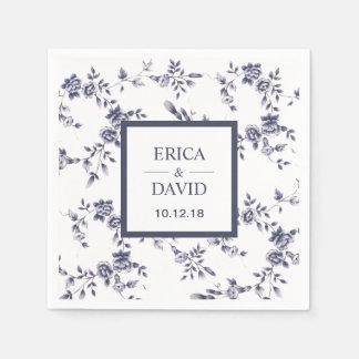 Vintage Blue & White Porcelain Floral Wedding Disposable Napkins