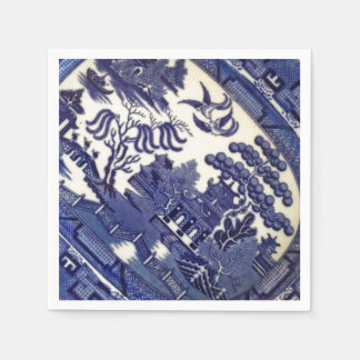 Vintage Blue Willow China Plate Pattern Tile Dish Disposable Serviettes