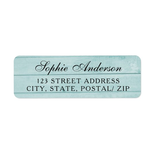 Vintage blue wood wedding return address label