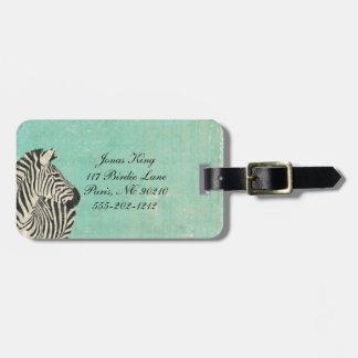 Vintage Blue Zebra Luggage Tag