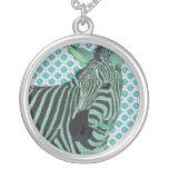 Vintage Blue Zebra Necklace
