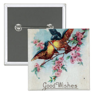 Vintage Bluebird Good Wishes 15 Cm Square Badge